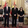 Le roi Felipe VI et la reine Letizia d'Espagne au palais du gouvernement du Pérou à Lima le 12 novembre 2018, où ils ont été accueillis au premier jour de leur visite officielle par le président du Pérou Martin Vizcarra et sa femme Maribel Carmen Diaz.