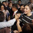 La reine Letizia d'Espagne le 12 novembre 2018 au ministère des Femmes du Pérou à Lima avec la première dame Maribel Carmen Diaz Cabello.