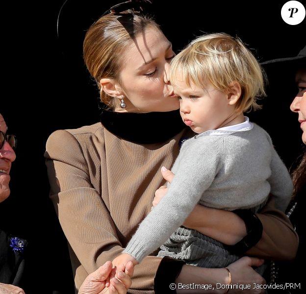 Beatrice Borromeo et son fils Francesco Casiraghi au palais princier à Monaco le 19 novembre 2018 lors des célébrations de la Fête nationale monégasque. © Dominique Jacovides/PRM/Bestimage