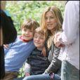 Jennifer Aniston sur le tournage de The Baster à New York avec Jason Bateman le 14 mai 2009