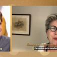 """Catherine Laborde écoute un message de sa soeur Françoise Laborde, le 12 décembre 2018 dans """"Ça commence aujourd'hui"""" sur France 2."""