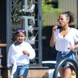 Christina Milian avec sa fille Violet Madison Nash et Matt Pokora à Los Angeles, le 9 juin 2018.