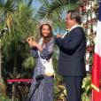 Vaimalama Chaves, Miss France 2019, de retour à Tahiti. Elle est accueillie très chaleureusement et a été décorée. Décembre 2018.