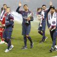 Marco Verratti, Neymar Jr., Thiago Silva, Kevin Trapp, Javier Pastore - Le PSG célèbre son titre de Champion de France 2018, après son match contre Rennes (0-2) au Parc des Princes à Paris, le 12 mai 2018. © Marc Ausset-Lacroix/Bestimage