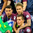 Thiago Silva, Neymar et Giovani Lo Celso - Finale de la Coupe de France opposant le club de Vendée les Herbiers Football (VHF) au Club du Paris Saint-Germain (PSG) au Stade de France à Saint-Denis, Seine Saint-Denis, France, le 9 mai 2018. Le PSG a gagné 2-0.