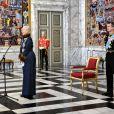 Le prince Frederik et la princesse Mary secondaient la reine Margrethe II de Danemark lors de la réception du nouvel an donnée le 3 janvier 2019 au palais de Christiansborg en l'honneur du corps diplomatique.