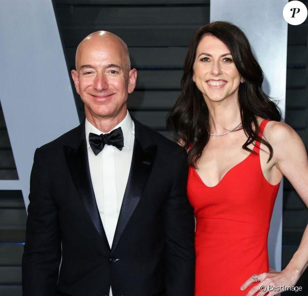 Jeff Bezos et sa femme MacKenzie Bezos à la soirée Vanity Fair à l'occasion des Oscars à Los Angeles, le 4 mars 2018.