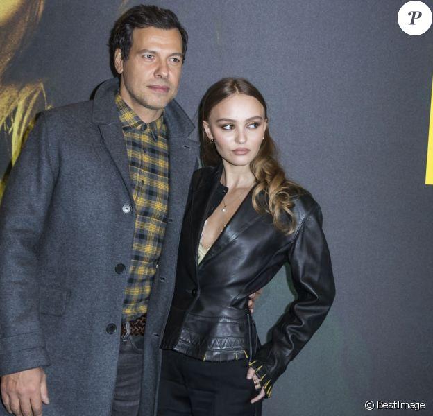 """Laurent Lafitte et Lily-Rose Depp à la première du film """"Les Fauves"""" au cinéma MK2 Bibliothèque"""" à Paris, le 17 janvier 2019. © Olivier Borde/Bestimage"""