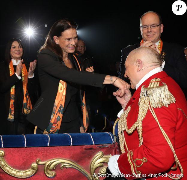 La princesse Stéphanie de Monaco, accompagnée par le prince Albert II de Monaco et son fils Louis Ducruet avec sa fiancée Marie Chevalier, assistait le 17 janvier 2019 à la soirée d'ouverture du 43e Festival international du cirque de Monte-Carlo, sous le chapiteau de Fontvieille. © Jean-Charles Vinaj/Pool Monaco/Bestimage