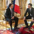 Le président Emmanuel Macron reçoit M. François Legault, nouveau Premier ministre du Québec au palais de l'Elysée à Paris le 21 janvier 2019. Gilles Rolle/Pool/Bestimage