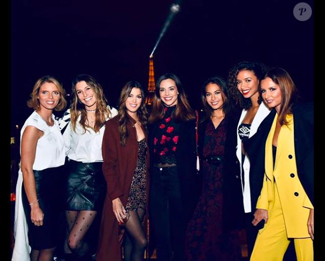 Iris Mittenaere entourée de Sylvie Tellier, Laury Thilleman, Marine Lorphelin, Vaimalama Chaves, Flora Coquerel et Malika Ménard pour son anniversaire, le 25 janvier 2019 sur les Champs-Elysées.
