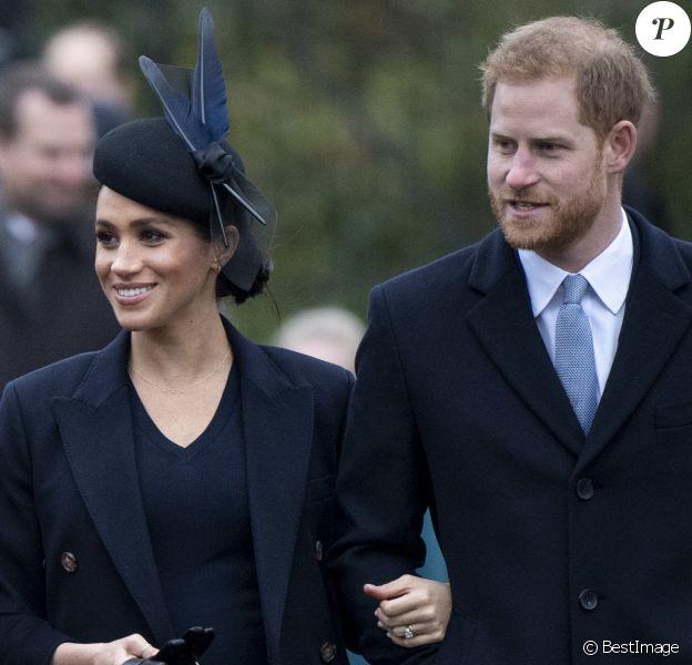 Le prince Harry, duc de Sussex et sa femme Meghan Markle, la duchesse de Sussex enceinte - La famille royale britannique se rend à la messe de Noël à l'église Sainte-Marie-Madeleine à Sandringham, le 25 décembre 2018. 25 December 2018.
