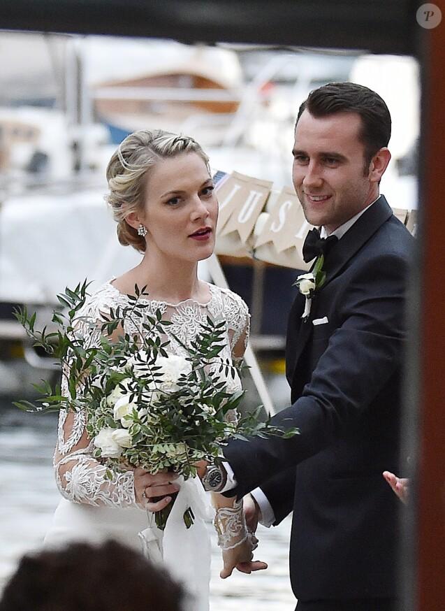 """Exclusif - Matthew Lewis (alias Neville Londubat dans """"Harry Potter"""") et Angela Jones se sont mariés à Portofino, Italy, le 28 mai 2018."""