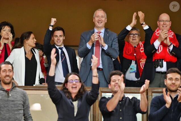 La princesse Stéphanie de Monaco, Louis Ducruet, Vadim Vasilyev et le prince Albert II de Monaco réunis le 12 mai 2018 pour la dernière rencontre de Ligue 1 à domicile pour Monaco au stade Louis II, contre l'AS Saint-Etienne. © Bruno Bebert/Bestimage