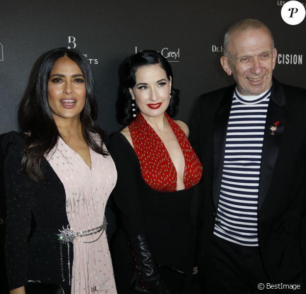 Salma Hayek (1er Globe d'Honneur International), Dita von Teese et Jean-Paul Gaultier arrivent à la 14ème cérémonie des Globes de Cristal, à la salle Wagram à Paris, le 4 février 2019. © Marc Ausset-Lacroix/Bestimage