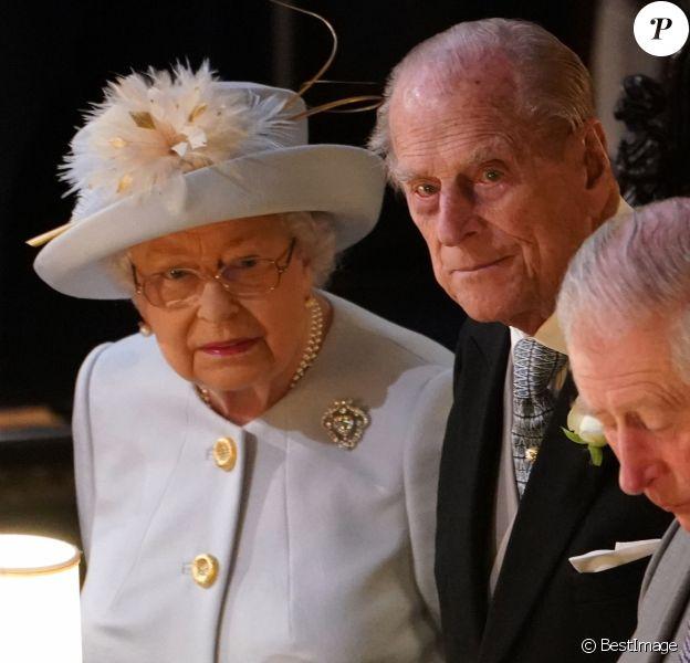 La reine Elizabeth II, le prince Philip, duc d'Edimbourg et le prince Charles au mariage de la princesse Eugenie d'York et Jack Brooksbank en la chapelle Saint-George au château de Windsor le 12 octobre 2018.