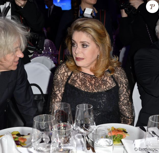 "Bob Geldof, Catherine Deneuve au gala ""Cinema For Peace"" lors du 69ème Festival International du Film de Berlin, La Berlinale. Le 11 février 2019"