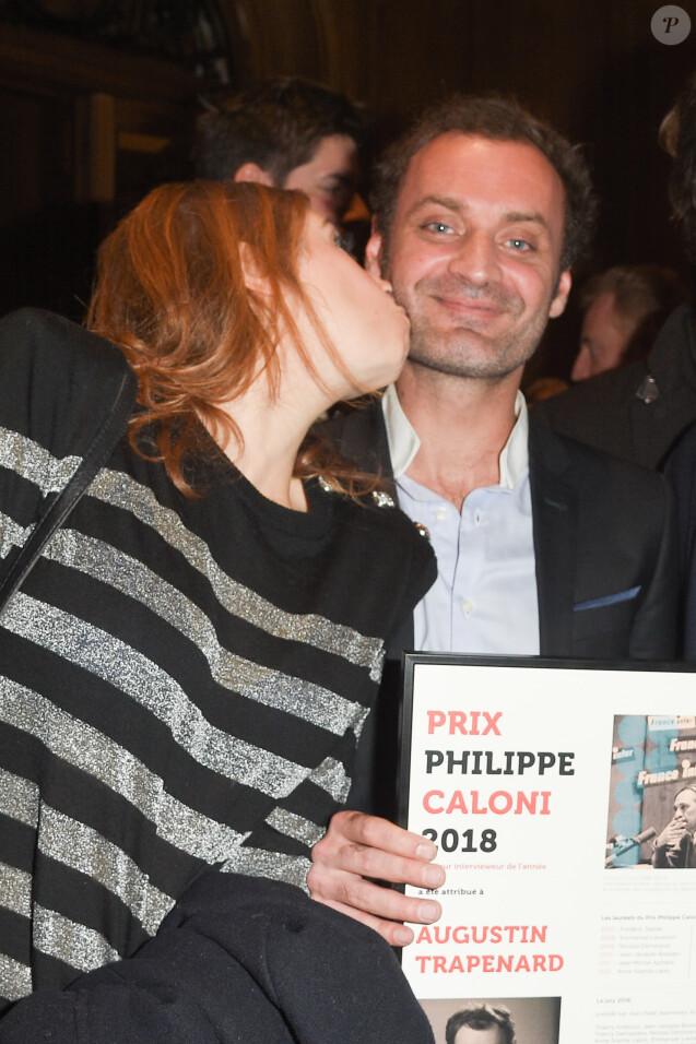 Léa Salamé et Augustin Trapenard - Soirée de remise du Prix Philippe Caloni 2018 à la Scam (Société civile des auteurs multimedia) à Paris le 19 février 2019. © Coadic Guirec/Bestimage