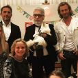 Sébastien Jondeau et sa compagne Lucy, Karl Lagerfeld, sa chatte Choupette, Brad et Nicole Kroenig et leurs deux enfants Hudson et Jameson. Août 2018.