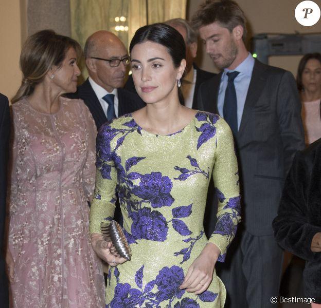 Alessandra de Osma (robe Jorge Vazquez), ses parents Elizabeth Foy et Felipe de Osma, et son mari le prince Christian de Hanovre, en arrière-plan, faisaient partie des invités du dîner de clôture de la visite officielle en Espagne du président du Pérou, Martin Vizcarra, le 28 février 2019 au palais royal du Pardo, à Madrid.