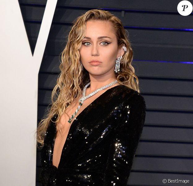Miley Cyrus à la soirée Vanity Fair Oscar Party à Los Angeles, le 24 février 2019