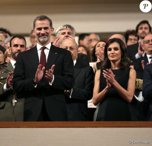 Le roi Felipe VI et la reine Letizia d'Espagne présidaient le 7 mars 2019 au concert à la mémoire des victimes du terrorisme, à l'auditorium national à Madrid.