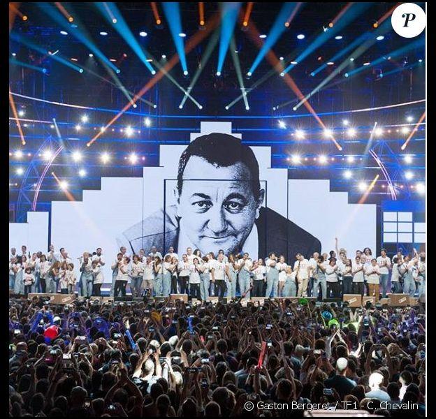 Les Enfoirés sur la scène de l'Arkéa Arena, janvier 2019