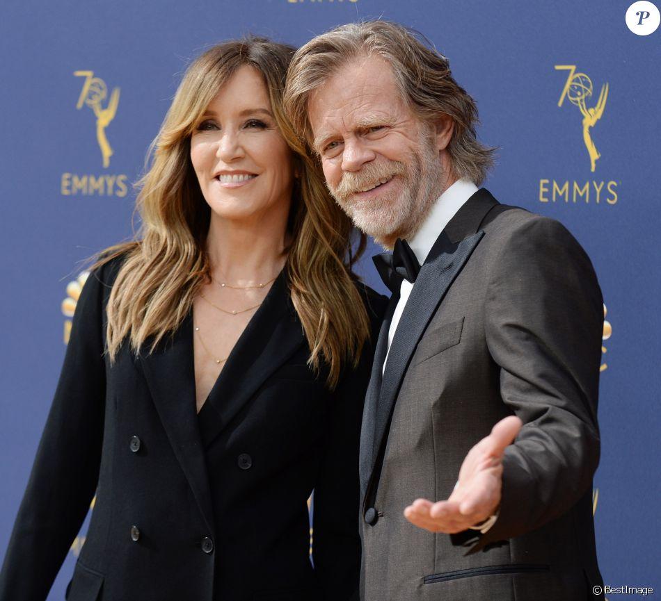 William H. Macy et sa femme Felicity Huffman au 70ème Primetime Emmy Awards au théâtre Microsoft à Los Angeles, le 17 septembre 2018.