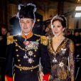 Le prince Frederik de Danemark et la princesse Mary de Danemark au banquet du Nouvel An 2019 de la famille royale de Danemark au palais d'Amalienborg à Copenhague, le 1er janvier 2019.