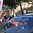 Le prince Albert II de Monaco a donné le départ de la 29ème édition du Rallye Aïcha des Gazelles catégorie E-Gazelle VINCI Immobilier sur la Place du Palais de Monaco le 16 mars 2019 © Bruno Bebert / Bestimage