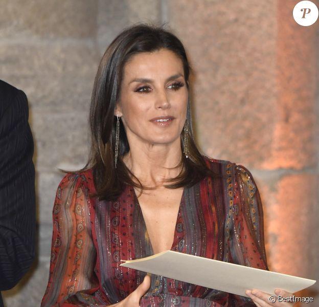 Le roi Felipe VI et la reine Letizia (robe Intropia) d'Espagne prenaient part le 19 mars 2019 à la remise des Prix de la Culture espagnole 2017 au musée du Prado à Madrid.