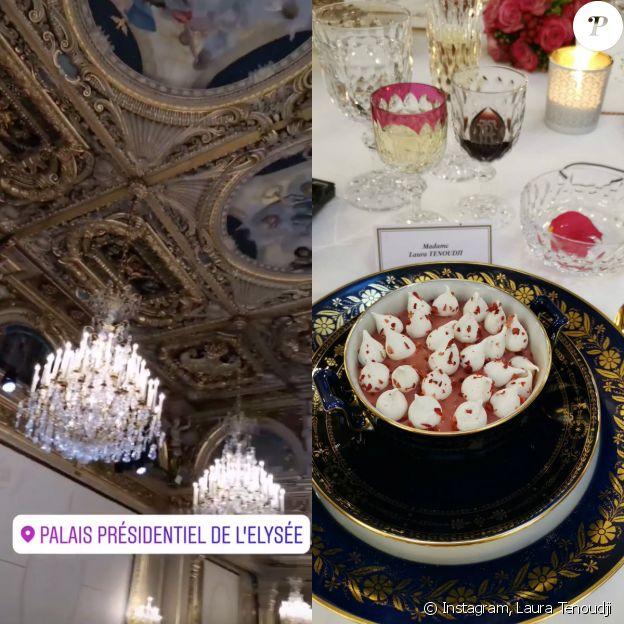 Laura Tenoudji filme la salle des fêtes de l'Elysée et nous dévoile l'un des plats du dîner d'Etat en l'honneur du président chinois - Paris, le 25 mars 2019.