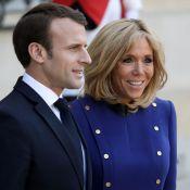 Brigitte Macron irréprochable en bleu roi, pour clôturer la visite de Xi Jinping