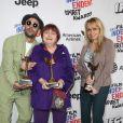 Agnes Varda, JR, and Rosalie Varda à la press room du 33ème Independent Spirit Awards à Santa Monica, le 3 février 2018