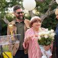 Agnès Varda avec son fils Mathieu Demy et sa fille Rosalie Varda - Réception organisée en l'honneur de Agnès Varda dimanche à la Résidence de France à Los Angeles. © Chris Delmas/Bestimage
