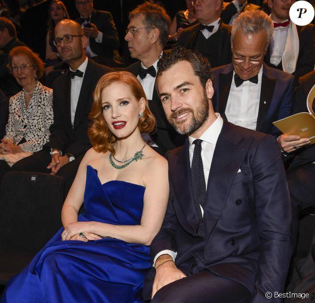 Jessica Chastain et son mari Gian Luca Passi de Preposulo  - 54e cérémonie des Goldene Kamera, à Berlin, le 30 mars 2019