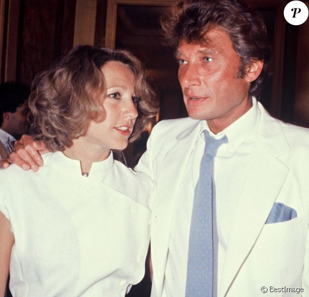 Nathalie Baye et Johnny Hallyday au mariage d'Eddie Barclay, à Paris le 22 juin 1984.