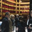 Les premières dames Brigitte Macron et Peng Liyuan (femme du président de la république populaire de Chine) en visite à l'Opéra Garnier pour assister à des répétitions, Paris le 25 mars 2019.