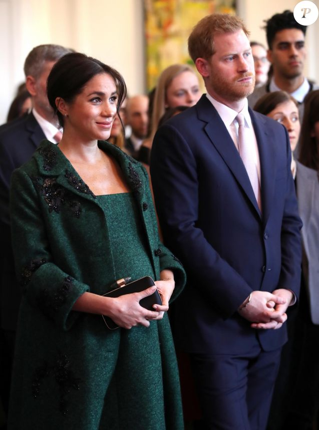 Le prince Harry, duc de Sussex, Meghan Markle, enceinte, duchesse de Sussex, lors de leur visite à Canada House dans le cadre d'une cérémonie pour la Journée du Commonwealth à Londres le 11 mars 2019.