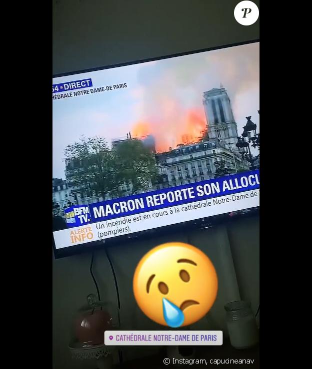 Capucine Anav sur Instagram, le 15 avril 2019.