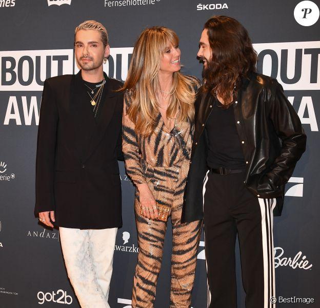 """Bill Kaulitz, Heidi Klum et son fiancé Tom Kaulitz - Soirée des """"About You Awards 2019"""" aux Bavaria Studios à Munich, le 18 avril 2019."""