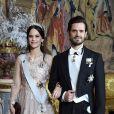 Le prince Carl Philip de Suède et la princesse Sofia au dîner des lauréats du prix Nobel au palais royal à Stockholm le 11 décembre 2018.