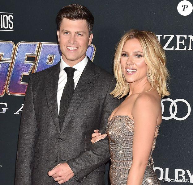 """Scarlett Johansson et son compagnon Colin Jost - Avant-première du film """"Avengers : Endgame"""" à Los Angeles, le 22 avril 2019."""
