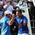 Arnaud Clément et Jo-Wilfried Tsonga - La France a remporté la demi-finale de la Coupe Davis face à la République tchèque à Roland Garros à Paris, le 13 septembre 2014.