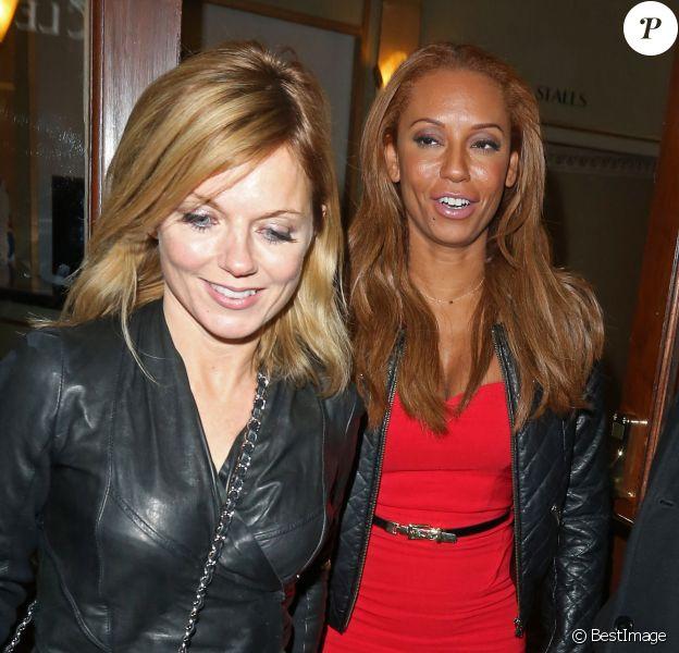 Geri Halliwell et Mel B quittent la comédie musicale Viva Forever', à Londres, le 7 février 2013.