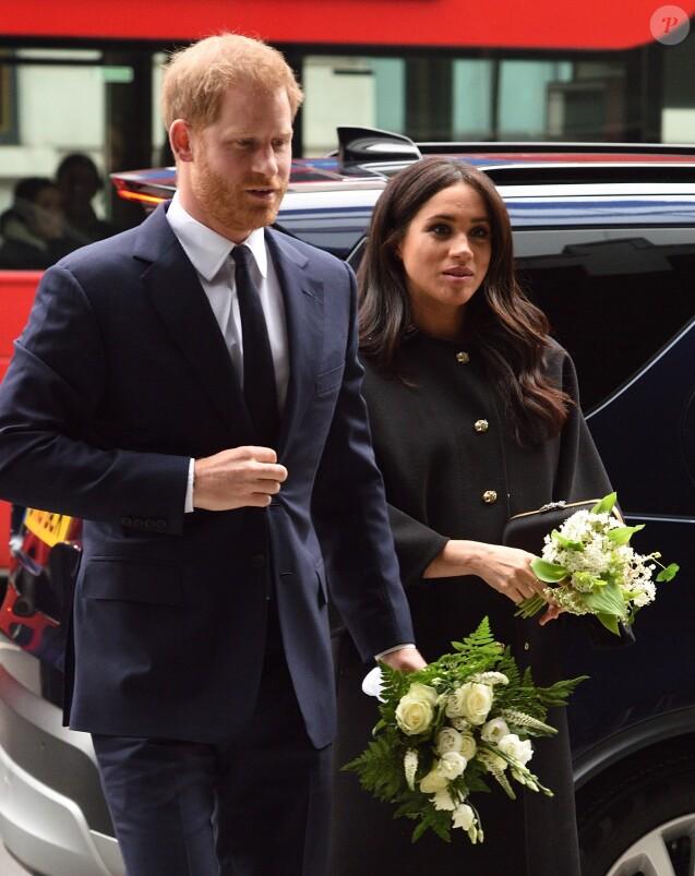 Le prince Harry et Meghan Markle, duchesse de Sussex, le 19 mars 2019 à la Maison de la Nouvelle-Zélande à Londres pour rendre hommage aux victimes de la tuerie de Christchurch et signer le registre de condoléances, leur dernière sortie avant le congé maternité de Meghan.