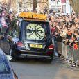 Image des obsèques de Keith Flint de The Prodigy à Bocking, Essex, le 29 mars 2019.