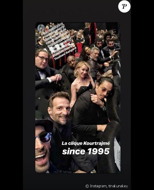 """Tina Kunaley et Vincent Cassel lors de la projection du film """"Les Misérables"""" au Festival de Cannes, avec la """"clique Kourtrajmé"""". Instagram, le 15 mai 2019."""