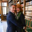Gérard Holtz et sa femme Muriel Mayette-Holtz - Cérémonie d'installation de Muriel Mayette-Holtz à l'Académie des beaux-arts à Paris le 15 mai 2019. © Coadic Guirec/Bestimage