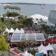 La croisette à l'heure du festival de Cannes, illustration du Palais des Festivals. Cannes, 72ème Festival International du Film de Cannes.